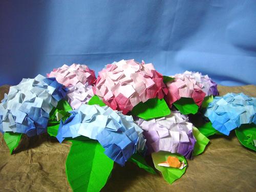 花 折り紙 紫陽花 折り紙 : 紙ログ : 【折り紙】アジサイ ...