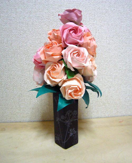 すべての折り紙 バラ作り方 折り紙 : 簡単!折り紙で作る花【バラ ...