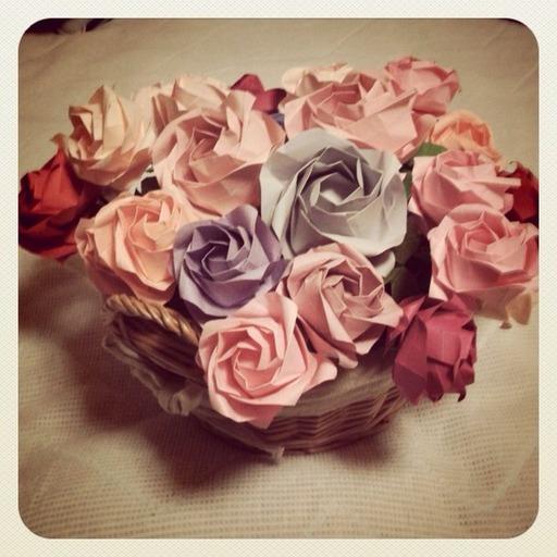 すべての折り紙 折り紙 花 カーネーション : 折り紙】川崎ローズの花かご ...