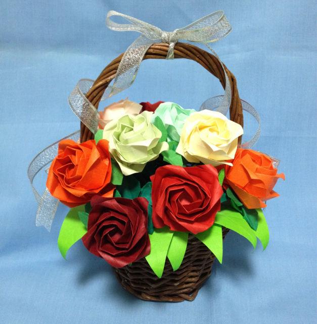 前回、箱の中に折り紙のバラを ... : 折り紙 箱 長方形の紙 : 折り紙