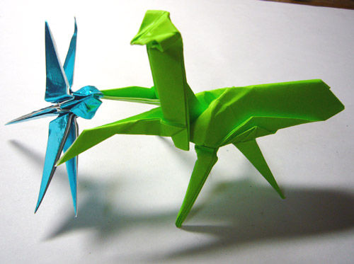 紙ログ : 【折り紙】カマキリ : 長方形 折り紙 鶴 : すべての折り紙