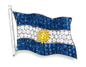 HISTORIC  ARGENTINE FLAG BROOCH, BY VAN CLEEF & ARPELS