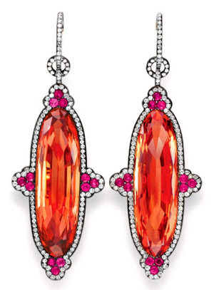 IMPERIAL TOPAZ, RUBY AND DIAMOND EAR PENDANTS, BY JAR