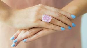 30ct Fancy Intense Pink on fingers
