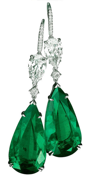 307 Emerald 23.66+23.55ct Diamond Earrings
