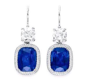 7.75, 6.27cts Kashmir Sapphire Ear Pendants