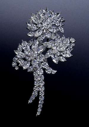 Pt Diamond Brooch by Suwa