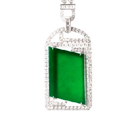 Jadeite Diamond Pendant Necklace