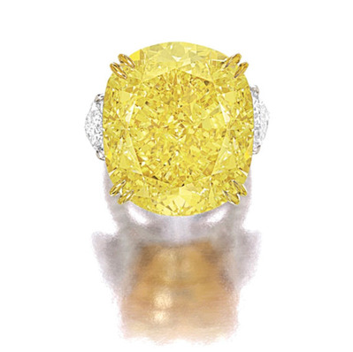77.77ct Fancy Vivid Yellow VS2 Ring