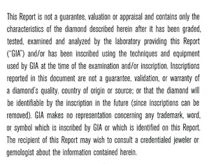 GIA Diamond Grading Report Important Limitations