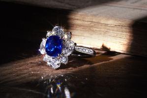 Kashmir sapphire diamond ring