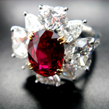 90% Complete 3ct size Ruby Dia Ring bird's-eye view