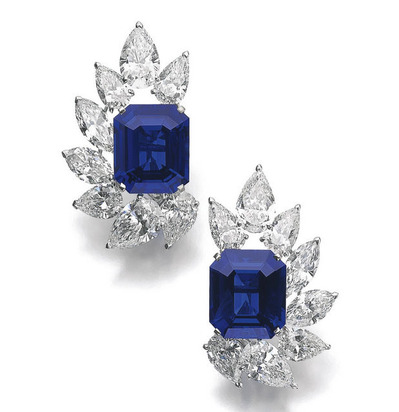 15.77 16.90ct Burmese Sapphier Diamond Ear Clips by Cartier