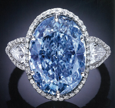 OV 10.10ct Fancy Vivid Blue IF Diamon Ring