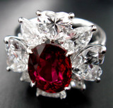 3ct UT Ruby Dia Ring Complete front view
