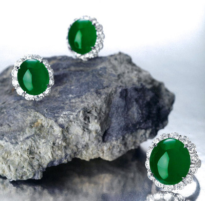 1818 Jadeite Daiamond Ring & Ear Clips