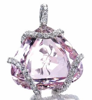 502 Morganite Diamond Pendant by JAR 1984