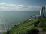 角田岬灯台と佐渡島