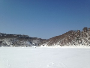 2017年2月の桧原湖氷上