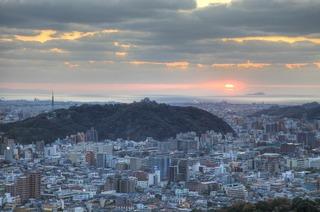 松山城-夕景