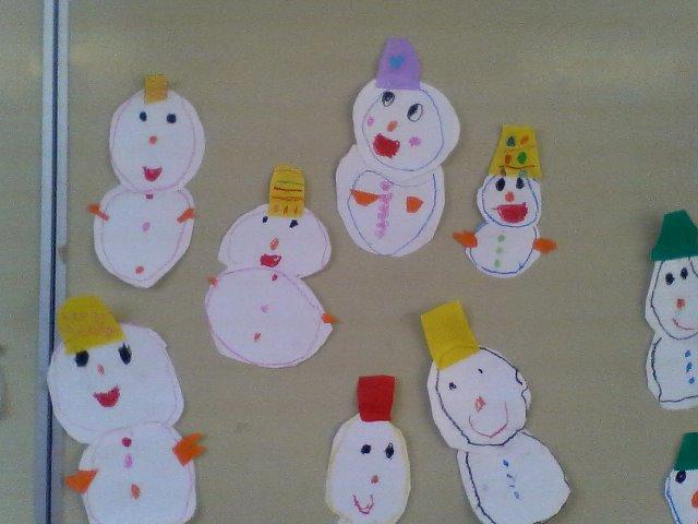 つき組では保育室の壁に貼る飾りをみんなで作りました。 二月の壁面は雪だるまです! 白い画用紙を自由に切って、折り紙で帽子や手袋等を飾り付けました。