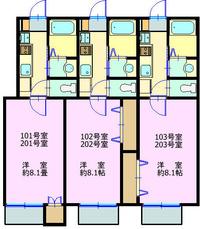 夏見3丁目アパート 1階2階 間取り図2