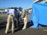 ブルーシートによる応急テント張り講習