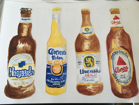 ビール水彩画