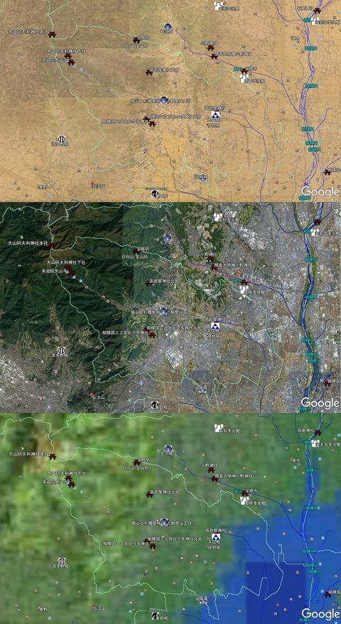 高部屋神社周辺地図各時代比較 久良岐のよし