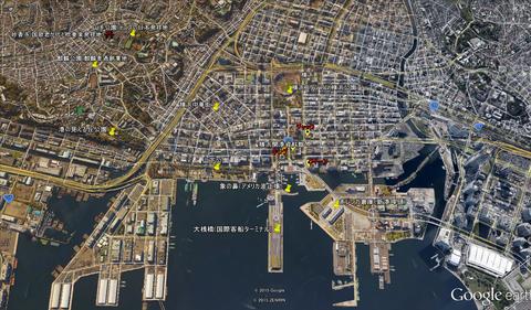 横浜三塔と周辺位置関係