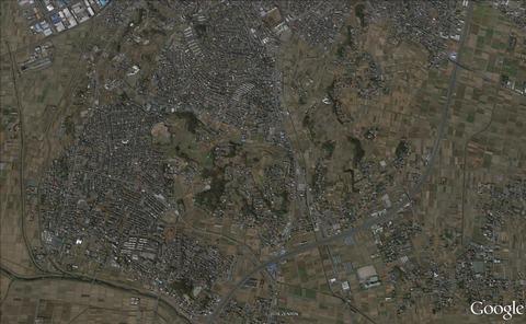 岡崎城縄張り図全体像衛星写真