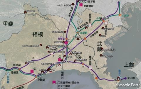 神奈川県の旧街道と古代神社の位地 久良岐のよし