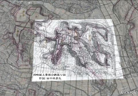 岡崎城主要部分縄張り図