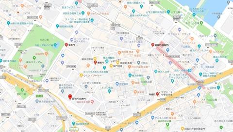 横浜中華街仏教五色四方聖獣の門と黄色の善隣門位置 久良岐のよし