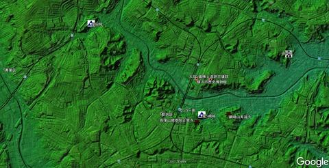 色別標高図&Google map&久良岐のよし史跡位置図 センター南駅周辺