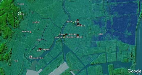 富岡八幡宮周辺色別標高図 国土地理院×Googleearth×久良岐のよし
