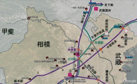 旧街道と武蔵相模国境付近 久良岐のよし