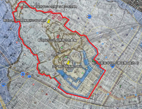 初期小田原城予想範囲図