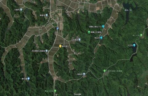 鵜羽神社と高藤山城の位置関係 久良岐のよし