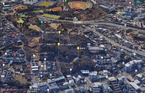 三ッ沢壇林旧蹟衛星画像 久良岐のよし