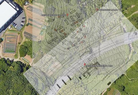 深田遺跡1期2期発掘調査遺跡分布