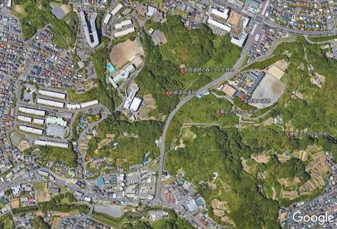 円海山瀬上沢流域ホタル群生地と上郷深田遺跡の森蛍群生地衛星写真