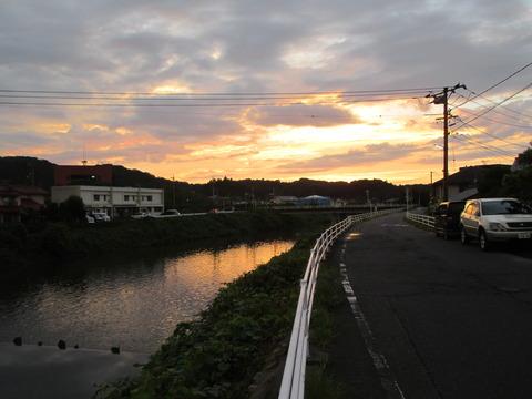 9月4日三瓶川の夕日