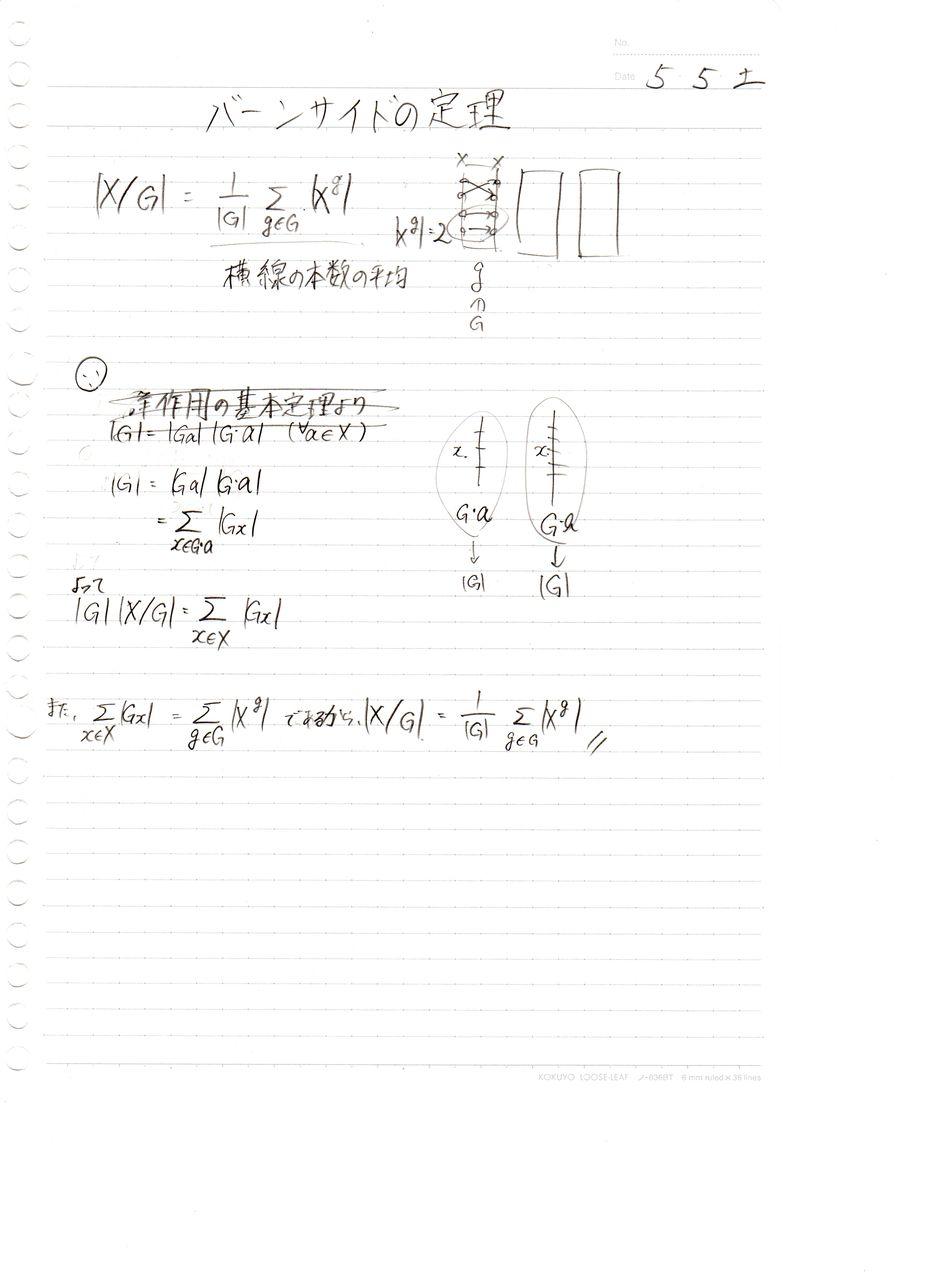 バーンサイドの定理 : 数学ノー...