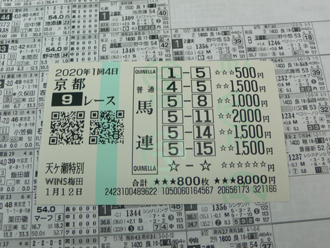 【馬券】1回京都4日9