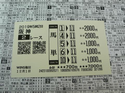 【馬券】5回阪神2日2