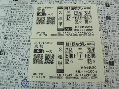 【馬券】5回京都6日4