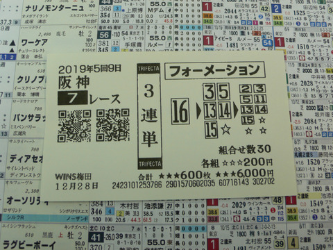 【馬券】5回阪神9日7