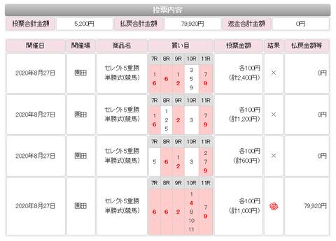 WIN5的中(0827)
