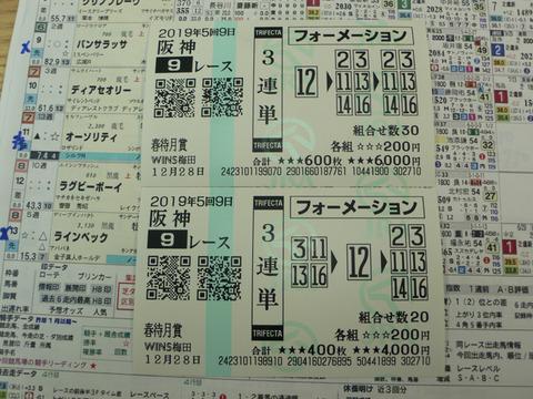 【馬券】5回阪神9日9